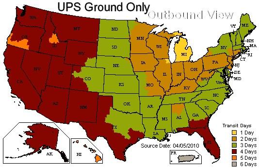 UPS Time in Transit Map